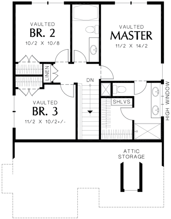Cottage Floor Plan - Upper Floor Plan #48-488