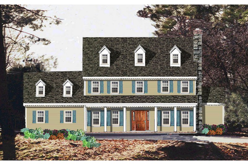 Architectural House Design - Colonial Exterior - Front Elevation Plan #3-219