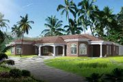 Adobe / Southwestern Style House Plan - 5 Beds 3.5 Baths 3330 Sq/Ft Plan #1-1107 Exterior - Front Elevation