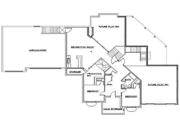 Colonial Floor Plan - Lower Floor Plan Plan #5-436