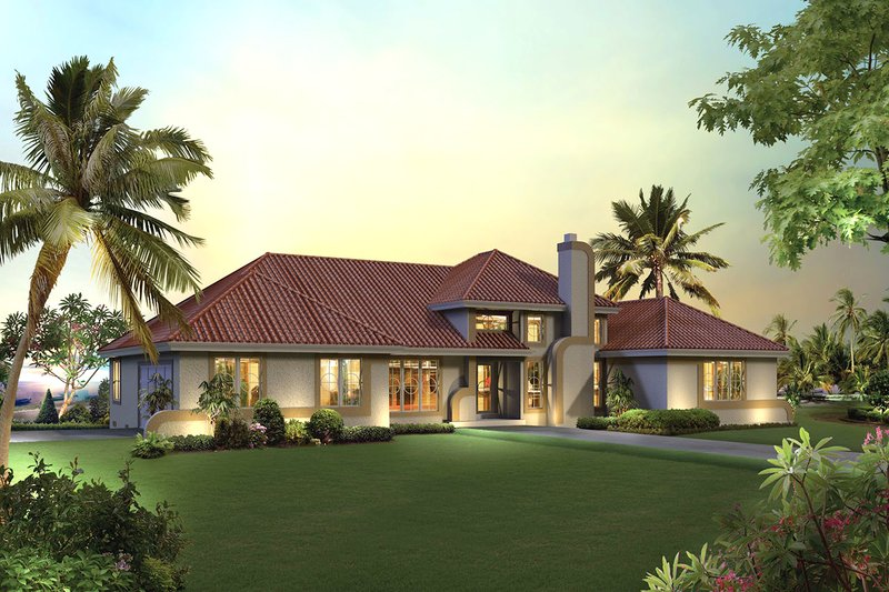 Mediterranean Style House Plan - 3 Beds 2.5 Baths 2072 Sq/Ft Plan #57-678 Exterior - Front Elevation