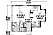 Cabin Style House Plan - 1 Beds 2 Baths 1092 Sq/Ft Plan #25-4529 Floor Plan - Main Floor Plan