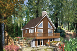 Cabin Exterior - Front Elevation Plan #25-4361