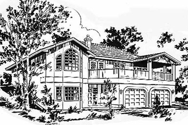 House Blueprint - European Exterior - Front Elevation Plan #18-138