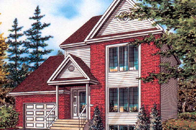 European Style House Plan - 2 Beds 1 Baths 1308 Sq/Ft Plan #138-217 Exterior - Front Elevation