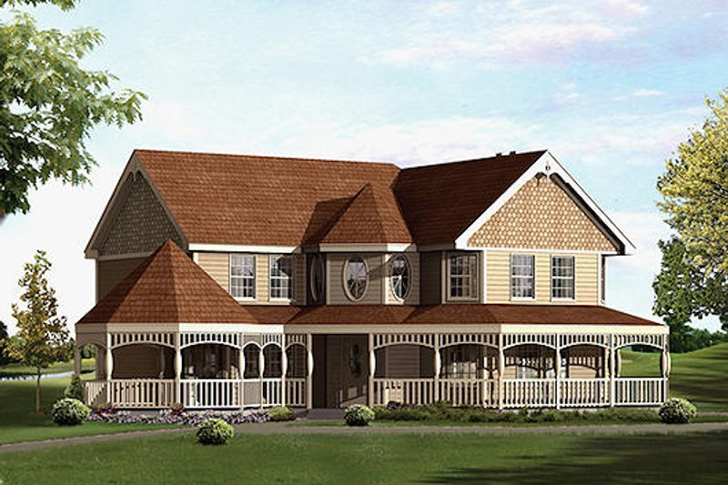 Victorian Style House Plan - 3 Beds 2.5 Baths 2370 Sq/Ft Plan #57-547 Exterior - Front Elevation