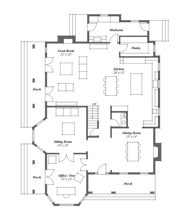 Country Floor Plan - Main Floor Plan Plan #481-8