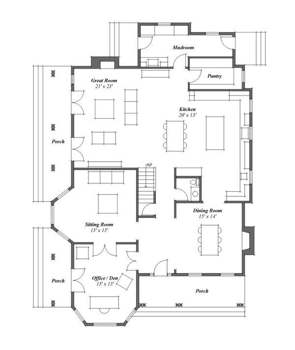 Country Floor Plan - Main Floor Plan Plan #481-8