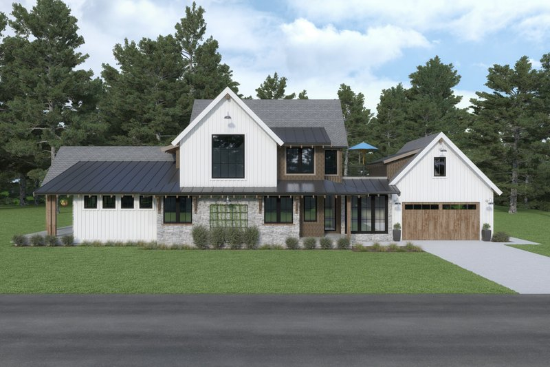 Home Plan - Farmhouse Exterior - Front Elevation Plan #1070-106