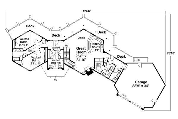 House Plan Design - Craftsman Floor Plan - Main Floor Plan #124-1206