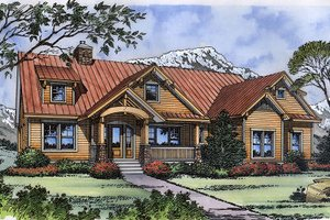 House Blueprint - Craftsman Exterior - Front Elevation Plan #417-238