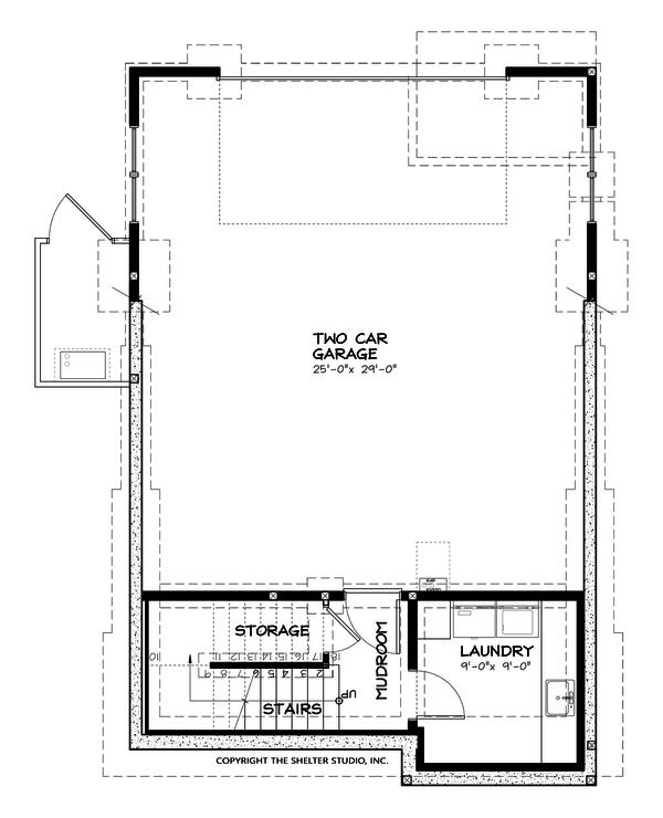 Craftsman Floor Plan - Lower Floor Plan #895-55
