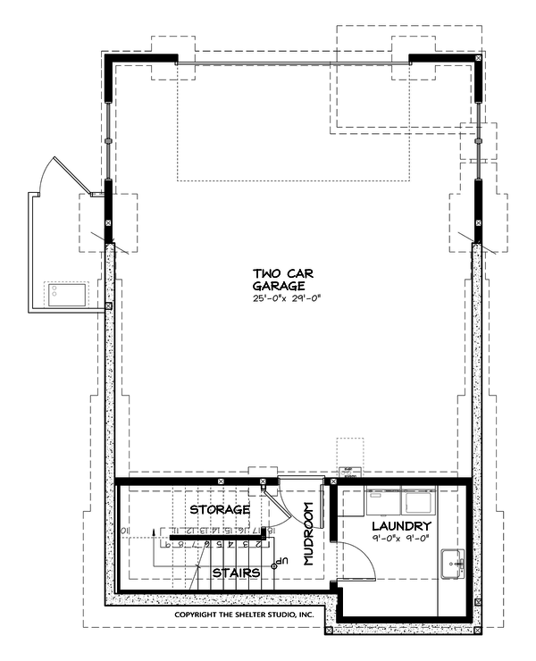 Craftsman Style House Plan - 2 Beds 1 Baths 980 Sq/Ft Plan #895-55 Floor Plan - Lower Floor Plan