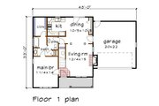 Country Style House Plan - 4 Beds 2.5 Baths 1367 Sq/Ft Plan #79-180 Floor Plan - Main Floor Plan