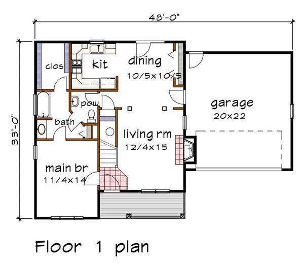 Country Floor Plan - Main Floor Plan Plan #79-180