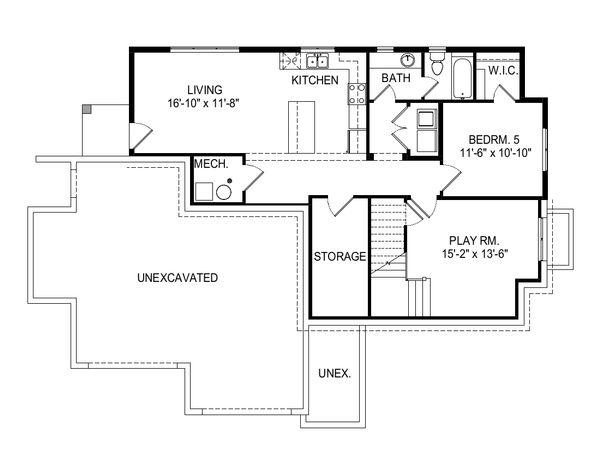 Modern Floor Plan - Lower Floor Plan Plan #920-112