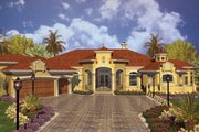 European Style House Plan - 4 Beds 5.5 Baths 5480 Sq/Ft Plan #420-125 Exterior - Front Elevation