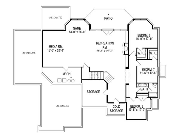Traditional Floor Plan - Lower Floor Plan Plan #920-44