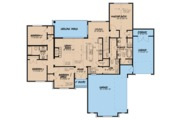 European Style House Plan - 4 Beds 2.5 Baths 1901 Sq/Ft Plan #923-62 Floor Plan - Main Floor Plan
