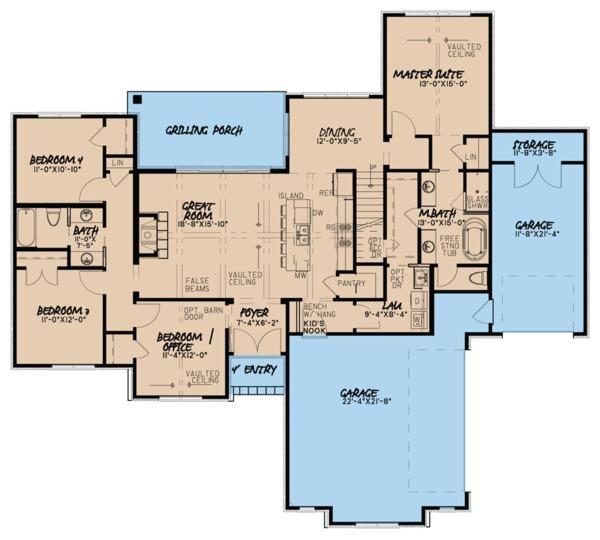 European Floor Plan - Main Floor Plan Plan #923-62