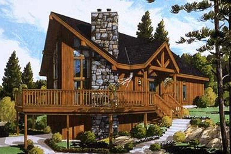 Cabin Style House Plan - 3 Beds 2 Baths 1732 Sq/Ft Plan #3-227 Exterior - Front Elevation