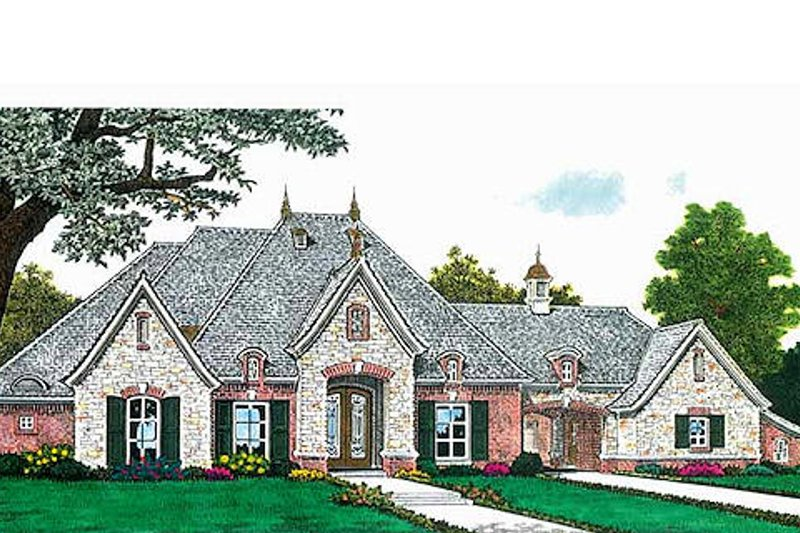 European Style House Plan - 3 Beds 2.5 Baths 2957 Sq/Ft Plan #310-687 Exterior - Front Elevation