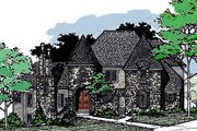 European Style House Plan - 4 Beds 3.5 Baths 4435 Sq/Ft Plan #20-2301 Exterior - Front Elevation