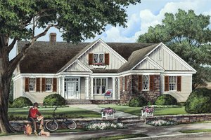 Southern Exterior - Front Elevation Plan #137-256