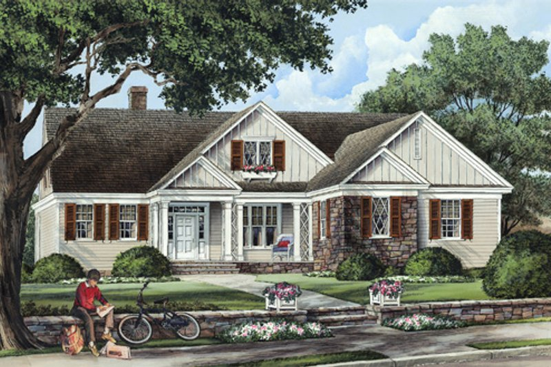 Home Plan - Southern Exterior - Front Elevation Plan #137-256