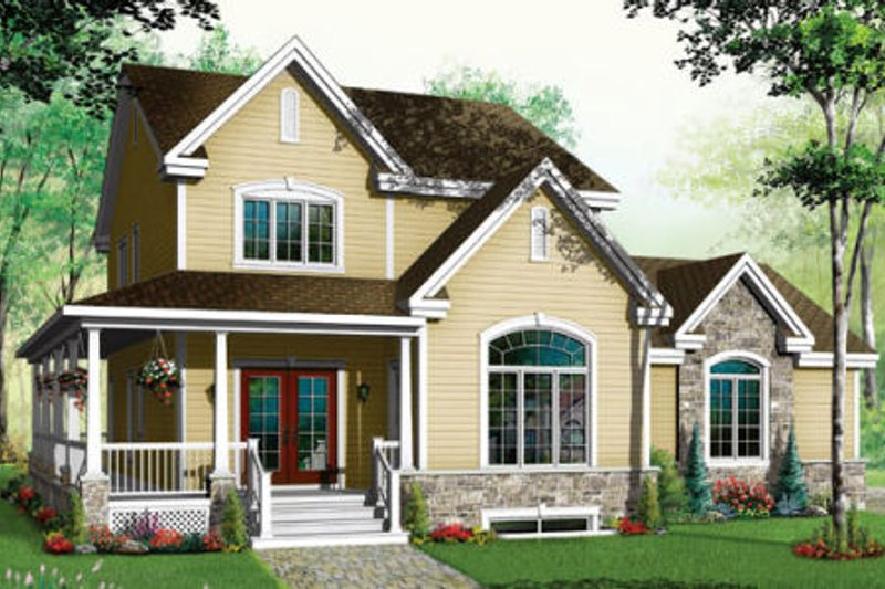 Country Exterior - Front Elevation Plan #23-384