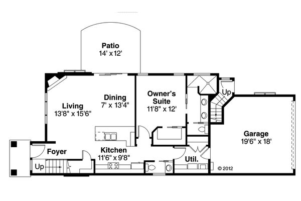 Contemporary Floor Plan - Main Floor Plan Plan #124-1131