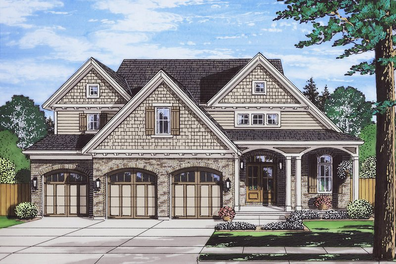 Traditional Exterior - Front Elevation Plan #46-877