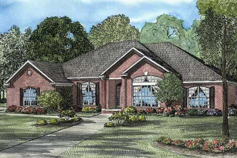 Traditional Style House Plan - 4 Beds 2.5 Baths 2671 Sq/Ft Plan #17-551 Exterior - Front Elevation