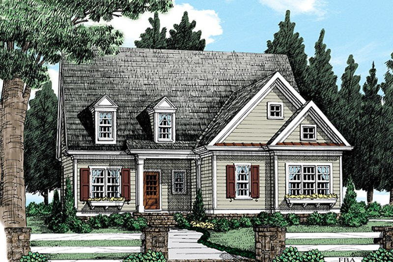Colonial Exterior - Front Elevation Plan #927-973