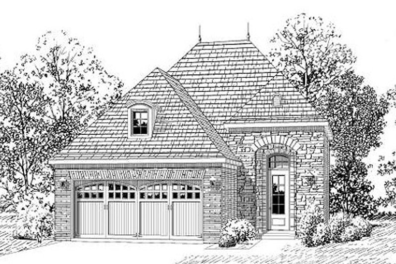 European Style House Plan - 3 Beds 2 Baths 1518 Sq/Ft Plan #424-234 Exterior - Front Elevation