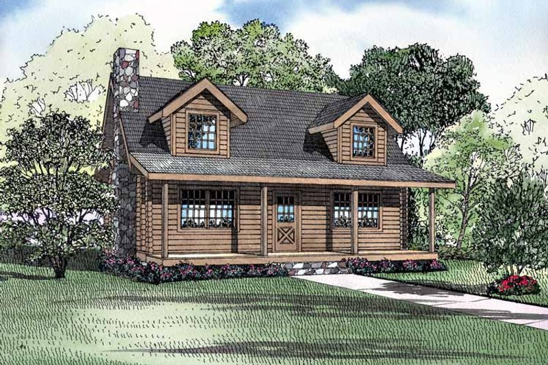 Log Exterior - Front Elevation Plan #17-3072