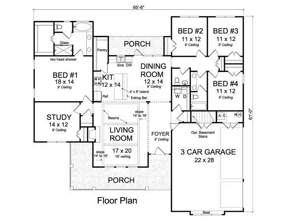 House Plan Design - Ranch Floor Plan - Main Floor Plan #513-2170