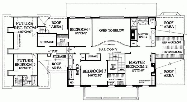 Colonial Floor Plan - Upper Floor Plan Plan #137-247