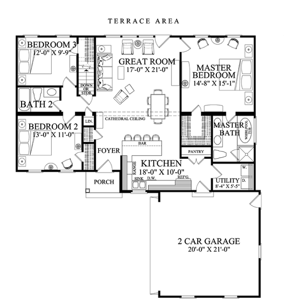 Ranch Floor Plan - Main Floor Plan Plan #137-364