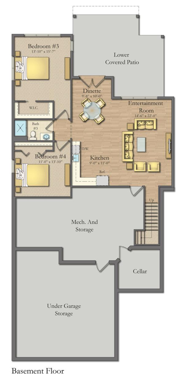 Craftsman Floor Plan - Lower Floor Plan #1057-16