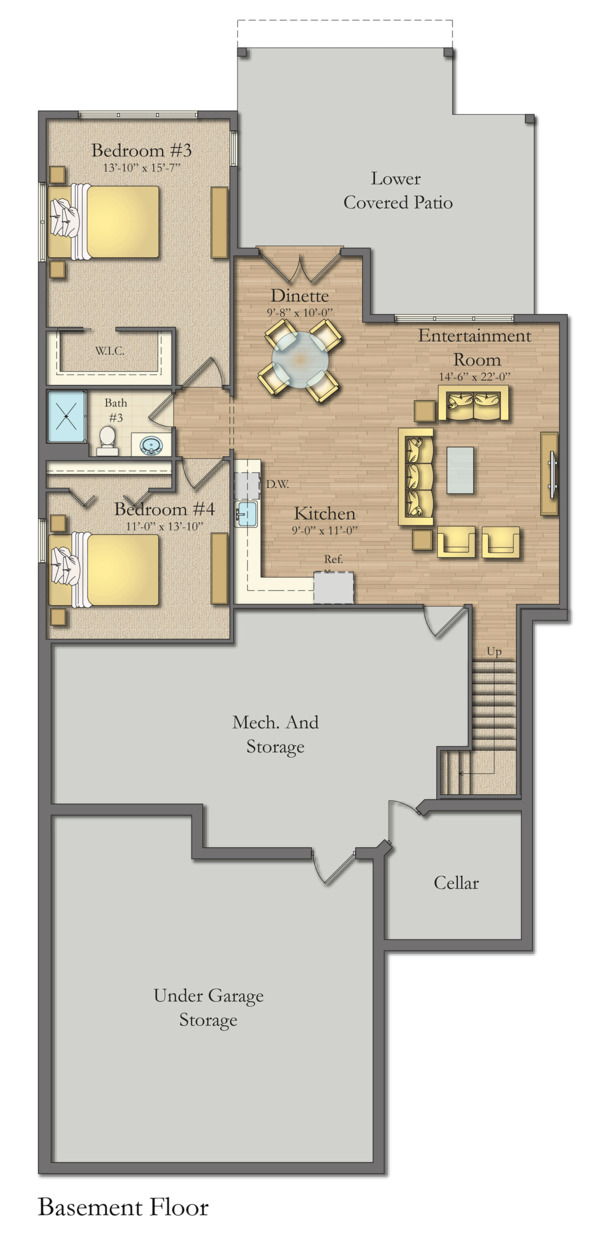 Craftsman Floor Plan - Lower Floor Plan Plan #1057-16