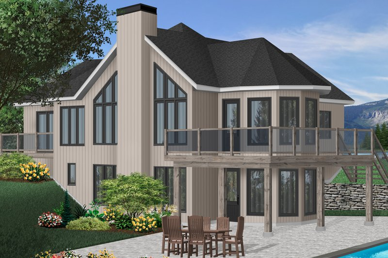 European Style House Plan - 2 Beds 2 Baths 1314 Sq/Ft Plan #23-2320 Exterior - Front Elevation