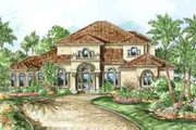 Mediterranean Style House Plan - 3 Beds 3 Baths 3130 Sq/Ft Plan #27-312 Exterior - Front Elevation