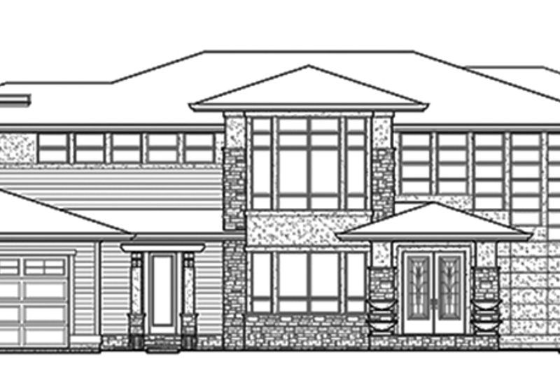 Prairie Exterior - Front Elevation Plan #132-562 - Houseplans.com