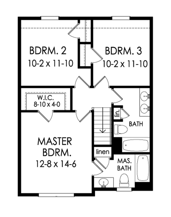Colonial Floor Plan - Upper Floor Plan Plan #1010-182