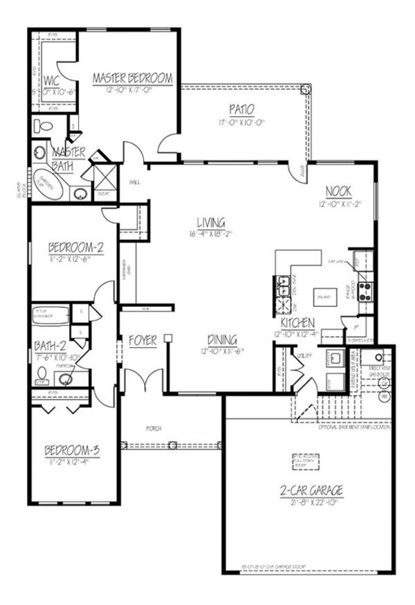 Adobe / Southwestern Floor Plan - Main Floor Plan Plan #1061-13
