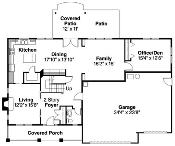 Craftsman Floor Plan - Main Floor Plan Plan #124-712