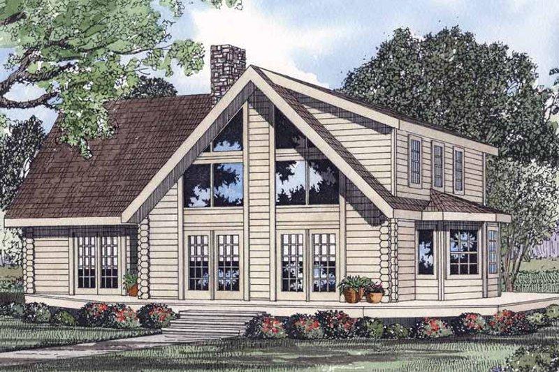 Log Exterior - Front Elevation Plan #17-2960 - Houseplans.com