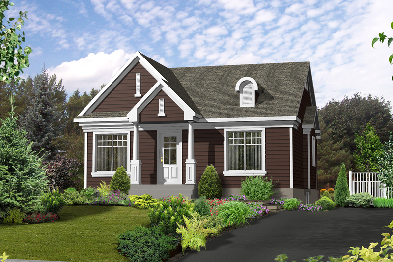 Country Style House Plan - 2 Beds 1 Baths 1030 Sq/Ft Plan #25-4392 Exterior - Front Elevation