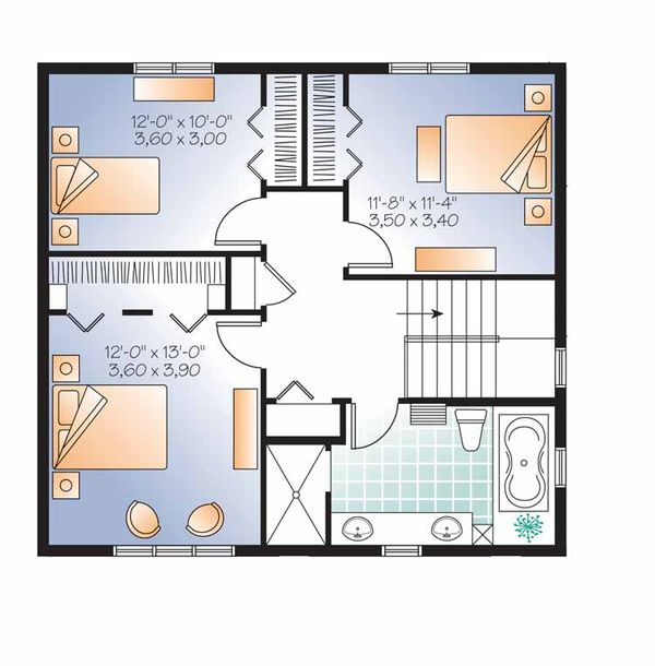 Traditional Floor Plan - Upper Floor Plan Plan #23-2507